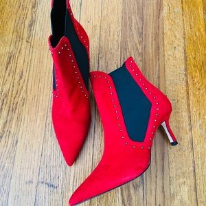Zara- red suede studded booties- brand new